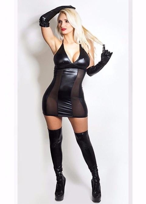 Vestido Escote y Corte Vertical Tul