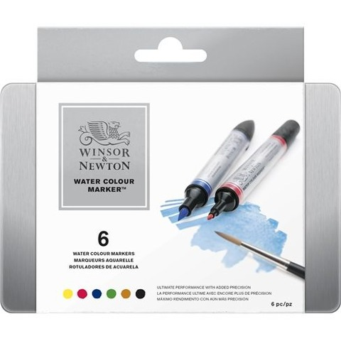 Marcadores Winsor & Newton Acuarelables Lata x 6