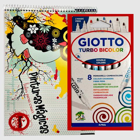 Block A4 + Marcadores Giotto x 8 BICOLOR