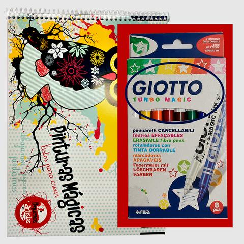 Block A4 + Marcadores Giotto x 8 MAGIC
