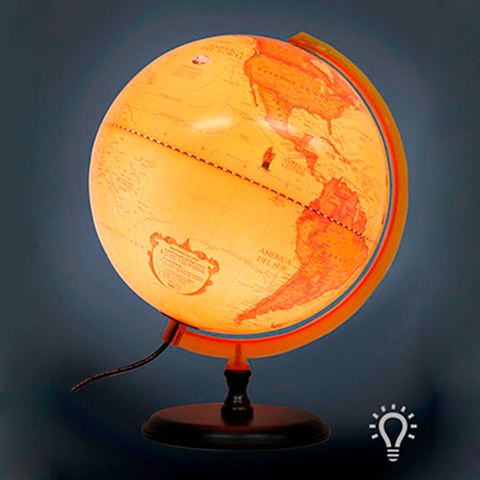 Globo Terraqueo Antiguo con luz 30cm (309AWL)