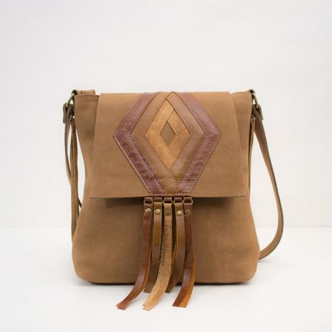Bandolera Katia cuero gamuzado marrón