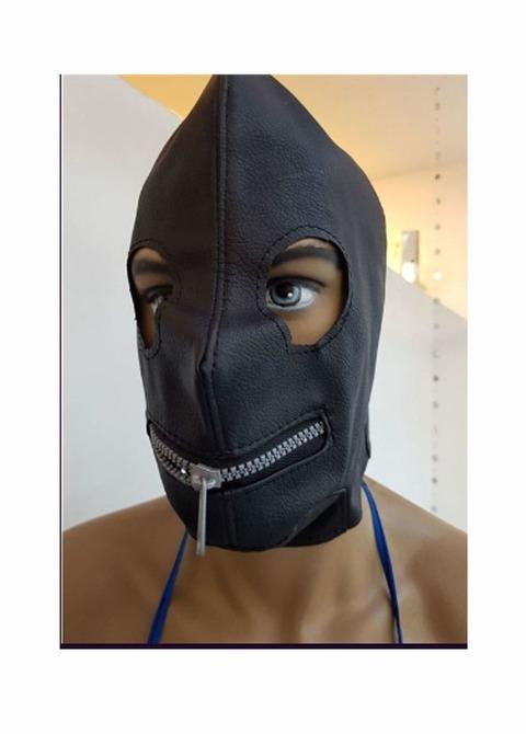 Mascara de Cuero con Cierre en Boca