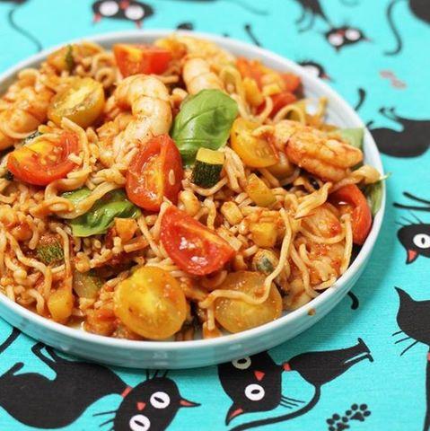 Spaguetti con salsa de mariscos Express #12meses