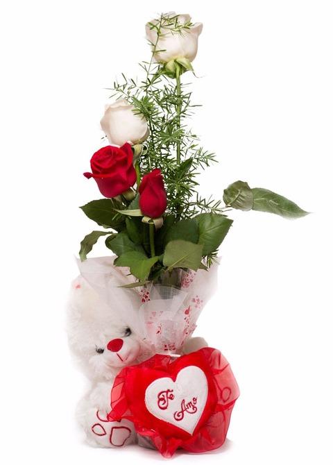 Cariño: Florero con 4 rosas y peluche