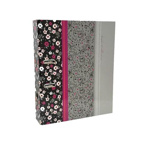Bibliorato Fantasía Oficio Lomo 7cm Flores Gris