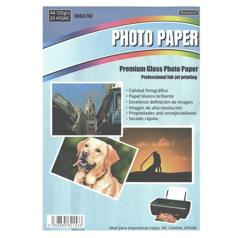 Hoja A4 Inkjet Glossy Bifaz 120gr x20