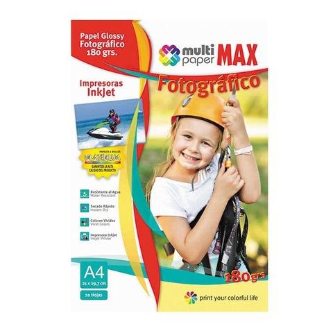 Hoja A4 Papermax Glossy 180gr x20 (Fotografico)