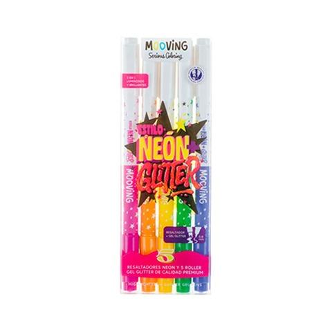 Mooving Coloring Resaltador Roller Gel Glitter x5
