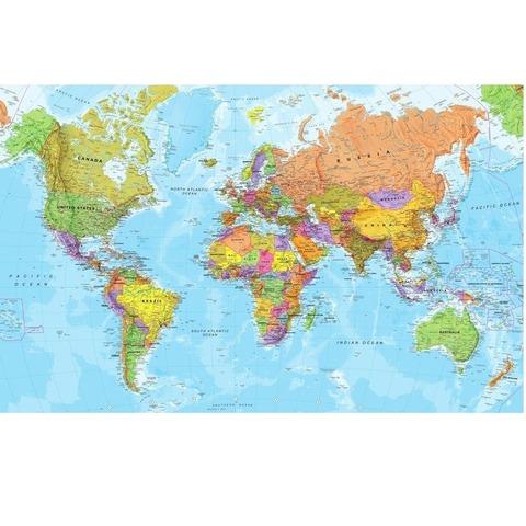 Mapa Mural Laminado Planisferio Político