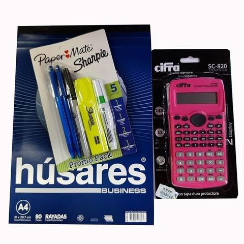 Promo calculadora Cientifica Cifra + Block + Set sharpie - Paper mate (calculadora rosa)