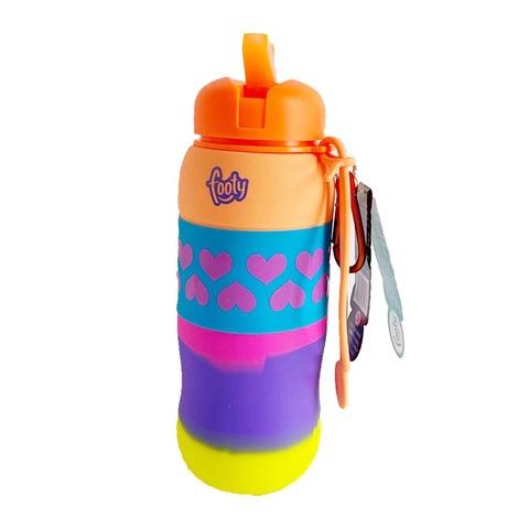 Botella Reutilizable Footy Silicona Enrollable Naranja Flúo