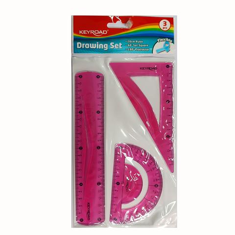 Set de Geometría Keyroad Flex 20cm 3piezas Rosa
