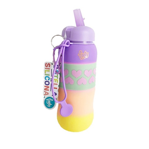 Botella Reutilizable Footy Silicona Enrollable Lila