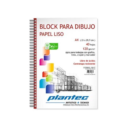 Block Plantec A4 Liso 120gr 40h Espiral Lateral