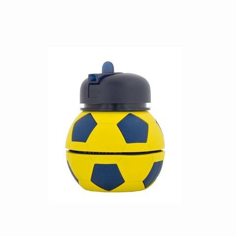 Botella Reutilizable Footy Silicona Pelota Azul/Amarillo