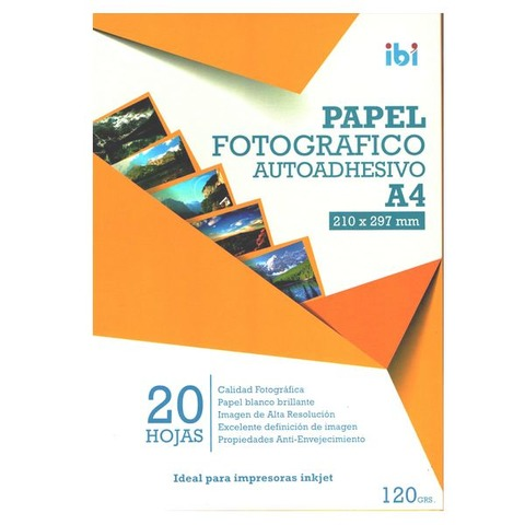Hoja A4 Inkjet Adhesivas Glossy 120gr x20 (Fotografico)