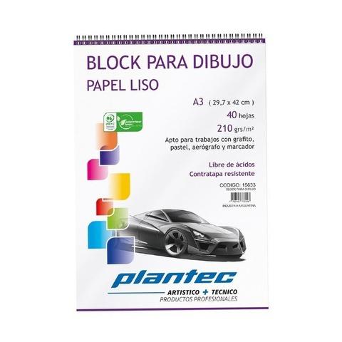 Block Plantec A3 Liso 210gr 40h Espiral
