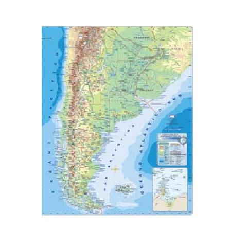 Mapa Mural Laminado República Argentina Físico/Político
