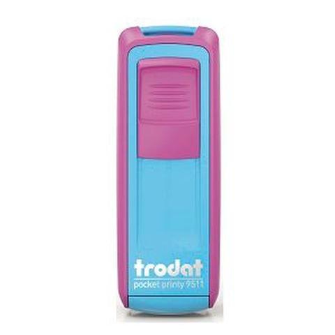 Sello 3 Líneas + Aparato Trodat Pocket 9511 Magenta y Turquesa