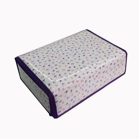 Cartuchera D&P Caja con abrojo 606F Blanca mini flores rosas y lilas