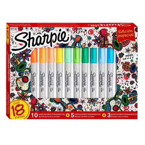 Marcador Sharpie Edición Especial Setx18 Punta Fina y Ultrafina