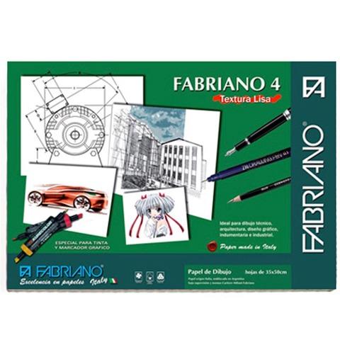 Hoja Blanca 35x50 de Dibujo Fabriano 4 Liso 160grs x10 Hojas