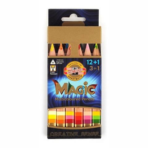 Lápiz Koh-i-noor Magic Cartón x12 Cortos (Lápiz Multicolor) + Goma + Sacapuntas