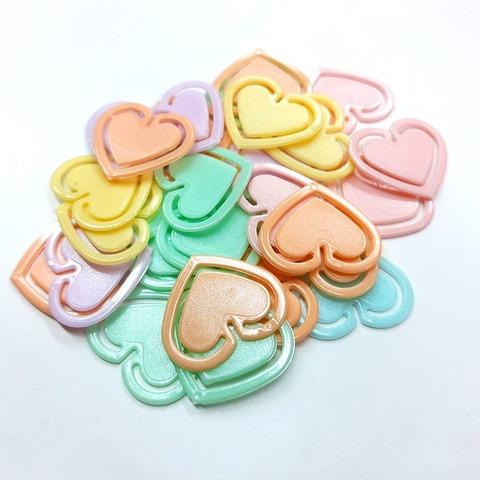 Broche Clip Liggo plástico x50 Corazón Pastel