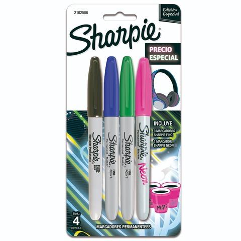 Marcador Sharpie Set x 4 Fino (con 1 neón)