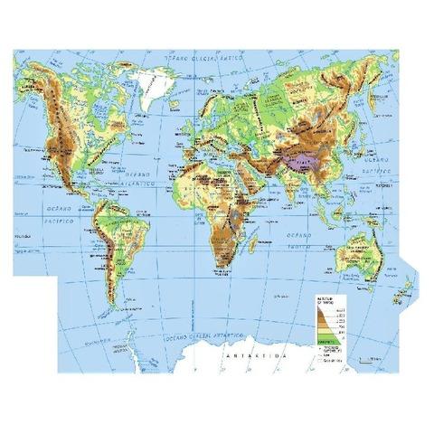 Mapa Mural Laminado Planisferio Físico/Político