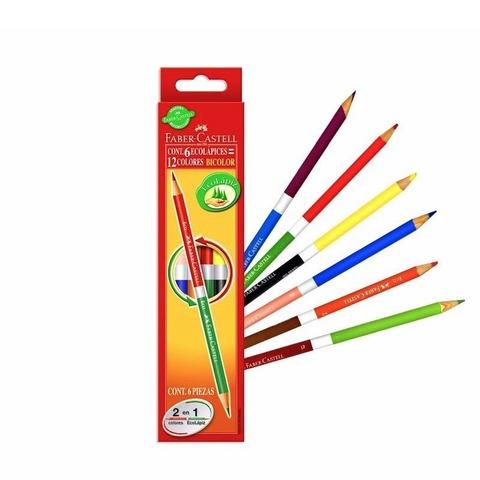 Lápiz Faber-Castell Bicolor x 6 (12 colores)