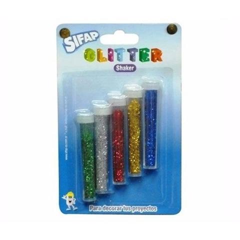 Brillantina Sifap x5 Tubos de 3grs.Glitter