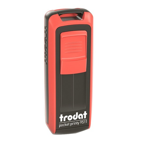 Sello 3 Líneas + Aparato Trodat Pocket 9511 Rojo y Negro