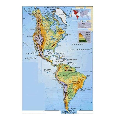 Mapa Mural Laminado Continente Americano Físico/Político