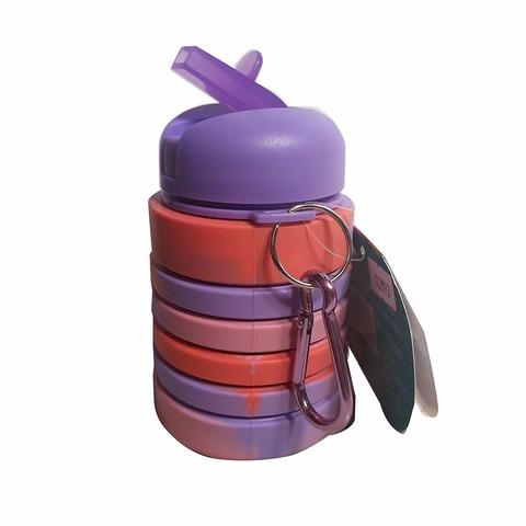 Botella Reutilizable Footy Silicona Plegable Coral y lila