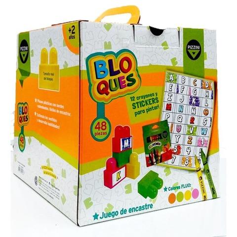 Bloques Pizzini x48 con Crayones y Stickers