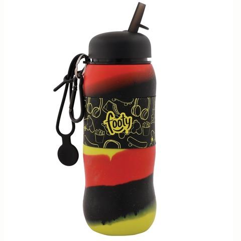 Botella Reutilizable Footy Silicona Desplegable Negra