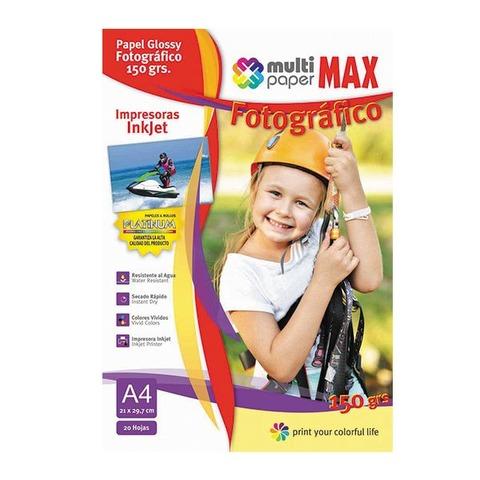 Hoja A4 Papermax Glossy 150gr x20 (Fotografico)