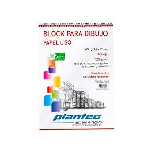 Block Plantec A4 Liso 120gr 40h Espiral Superior