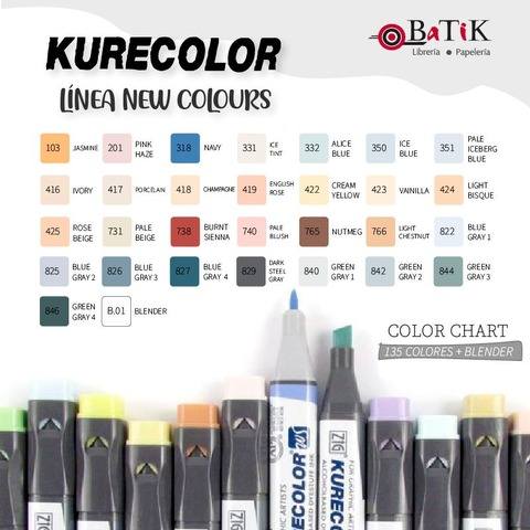 Marcador Kurecolor - Línea: New Colours (colores nuevos y blender)