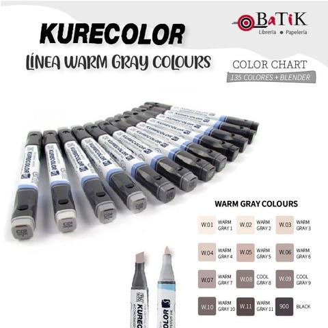 Kurecolor Marcador - Línea: Warm Gray Colours (grises cálidos y negro)