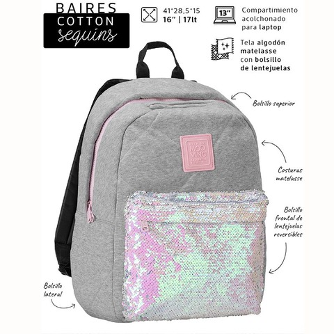 Mochila Mooving Baires Cotton Sequins 16,5 2135