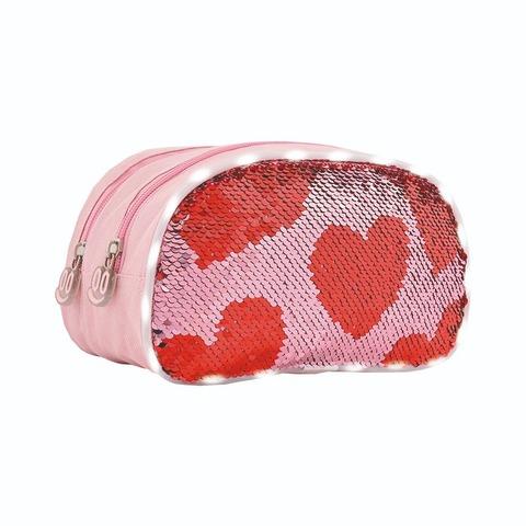 Cartuchera Canopla Footy 12042 Multi corazones 2 Cierres c/lentejuelas rosa