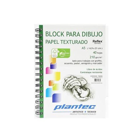 Block Plantec A5 Rugoso 210gr 40h Espiral Lateral