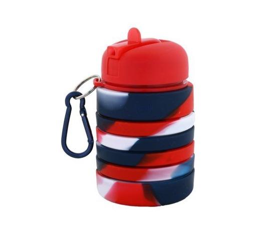 Botella Reutilizable Footy Silicona Plegable Roja y Azul