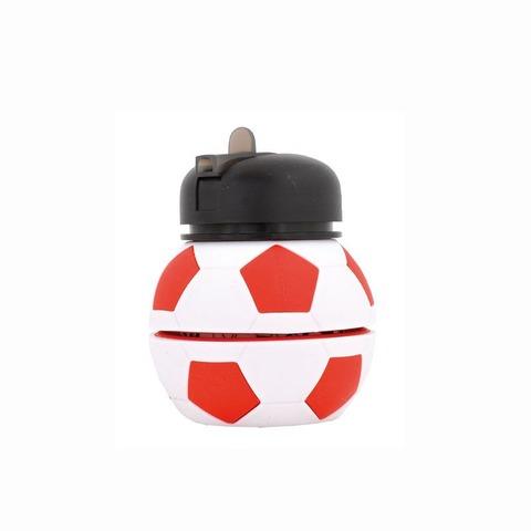 Botella Reutilizable Footy Silicona Pelota Rojo/Blanco