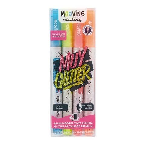 Mooving Coloring Resaltador Glitter x4