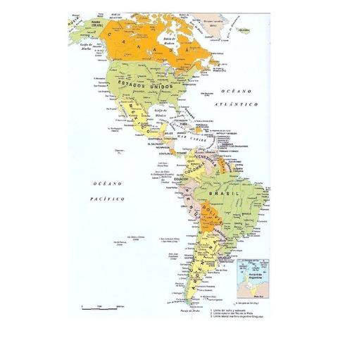 Mapa Mural Laminado Continente Americano Político