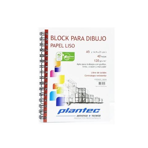 Block Plantec A5 Liso 120gr 40h Espiral Lateral